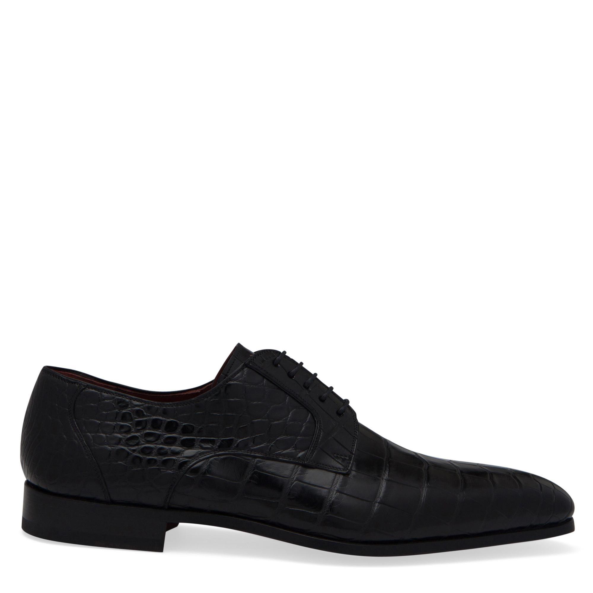 حذاء طراز ديربي بالأربطة وبنقش جلد التمساح