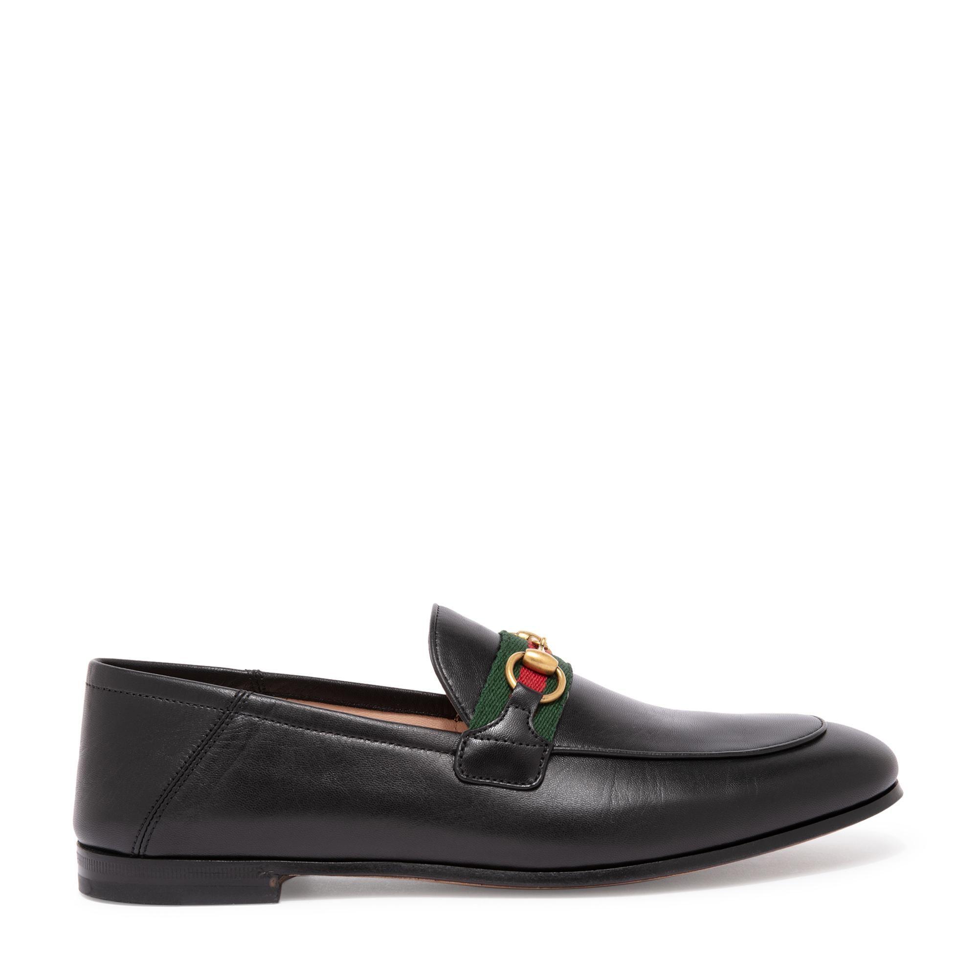 حذاء جلدي مسطح بتصميم شبكي